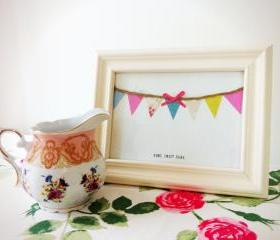 Home Sweet Home handmade bunting framed artwork
