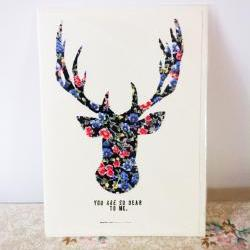 Hand made fabric reindeer christmas card. FREE P&amp;P